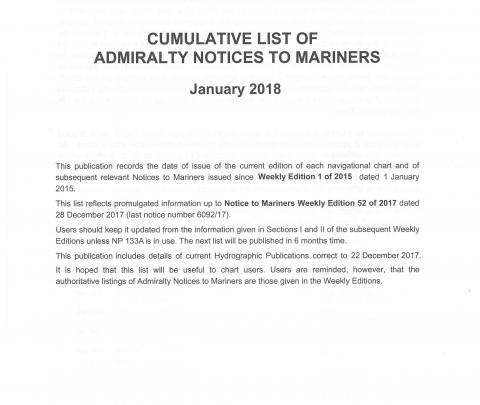 Cumulative list of ADMIRALTY Notices to Mariners (NMs)