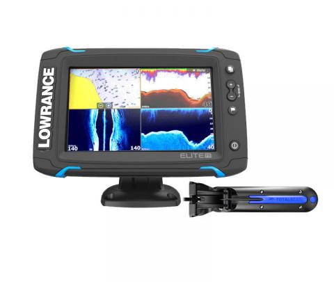 Lowrance Elite 7 TI Touch completo com transdutor popa TotalScan 83/200/chirp alto/chirp médio/Down image/side image