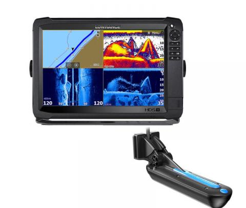 Lowrance HDS-12 Carbon completo com transdutor popa TotalScan 83/200/chirp alto/chirp médio/Down image/side image