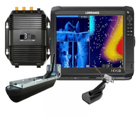 Lowrance HDS-12 Carbon completo com transdutor popa 83/200/chirp alto/chirp médio + transdutor 3D / Side scan / down image + 360º