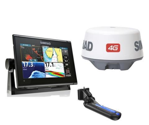 Simrad GO9 XSR com transdutor popa TotalScan + Radar 4G